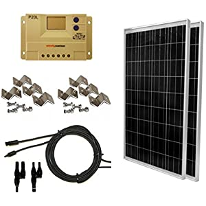 WINDYNATION-Complete-Solar-200-Watt-Panel-Kit-200W-Solar-Panel-20A-LCD-Display-PWM-Charge-Controller-MC4-Connectors-Mounting-Z-Brackets-for-12V-Battery-off-grid-RV-Boat