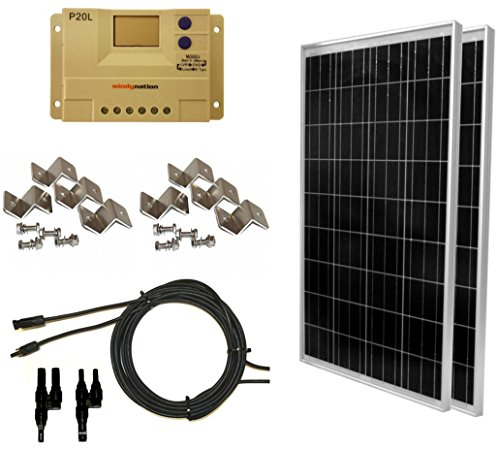 WindyNation 200 Watt (2pcs 100 Watt) Solar Panel Complete Off-Grid RV Boat Kit with LCD PWM Charge Controller + Solar Cable + MC4 Connectors + Mounting Brackets by WindyNation