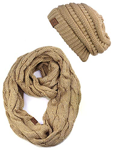 tch Chunky Cable Knit Beanie and Infinity Loop Scarf Set, Metallic Gold ()