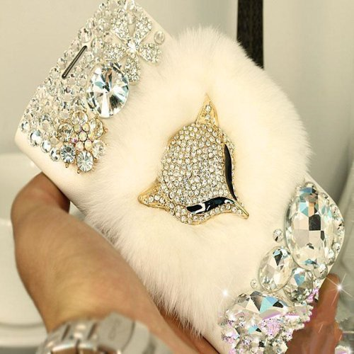 EVTECH(TM) Warm Plush Fox Rhinestones Luxury Crystal Diamond Bling Design PU Leather Wallet Cover Case (100% Handcrafted) for Samsung Galaxy S4 S IV i9500 9505 M919(not fit S4 active version)