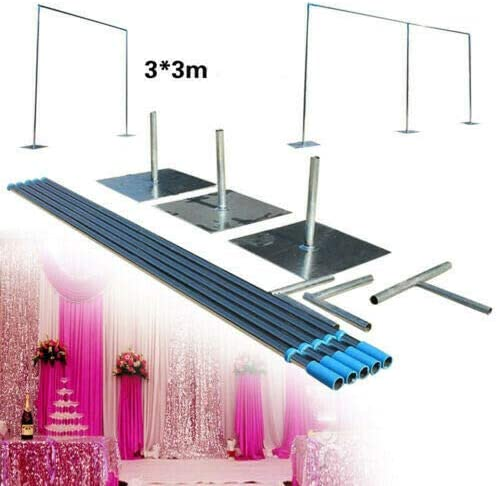 3x6m 3x6m Heavy Duty Adjustable Photography Background Stand Support System Set Curtain Frame Telescopic Pole with Steel Base for Wedding Party Booth Photo Video Studio Backdrop Pipe Stand Kit