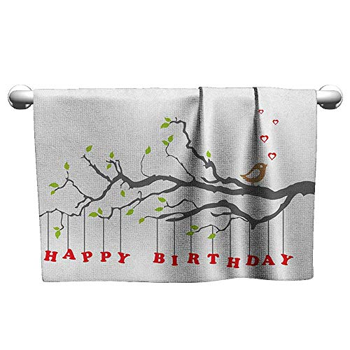 Andasrew Flowered Birthday,Letters Hanging from Branch with Leaves Cute Bird Hearts Art Print, Charcoal Grey Green Red,Workout Towel for Men