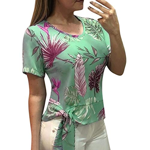 Witspace Women Casual Floral Print Blouse Short Sleeve Loose Top Shirt Tee ()