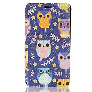 MOM Lovely Owl Pattern PU Leather Full Body Cover with Card Slot for Samsung Galaxy Note 4