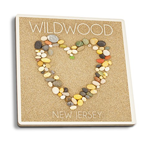 Lantern Press Wildwood, New Jersey - Stone Heart on Sand (Set of 4 Ceramic Coasters - Cork-Backed, Absorbent)