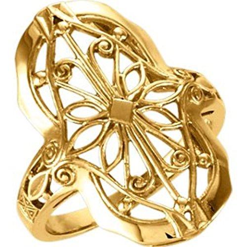 14K Yellow Gold Filigree Mounting Ring, Size: 6 14k Yellow Gold Ring Mounting