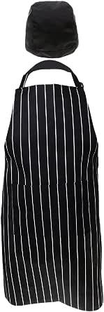 Baosity 2 Pieces Professional Stripe Apron & Elasticated Back Cap,Baker Chef Set