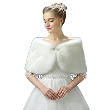 1b38b75c9 Telamee Girl's Ivory Evening Wrap Faux Fur Shawl Winter Scarves Cape for  Wedding at Amazon Women's Clothing store: