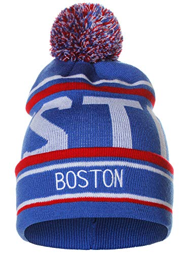 American Cities Boston Over Sized City Letters Pom Pom Knit Hat Cap Beanie (Winter Hat Red Sox)