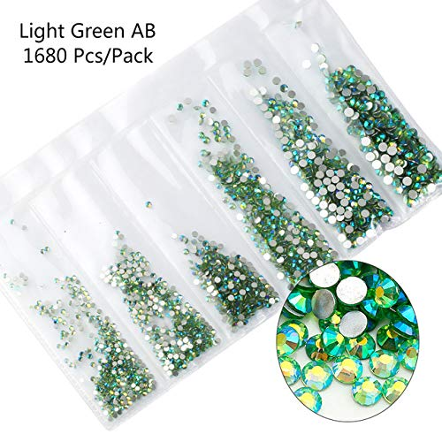 Nail Art Accessories - Multi-size Glass Nail Rhinestones For Nails Decorations Crystals Strass Charms Partition Mixed Size Rhinestone Set 3D Nail Decoration - Light Green AB