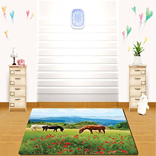Steelers Home Field Rug - HAIXIA rugs Animal Decor Various Kinds of Horses Eating Grass in the Field with Mountain Landscape Rural Scene Print Full Multi