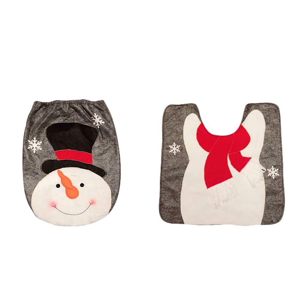 Recoproqfje cute Christmas WC serbatoio di tappetini Pad kit con pupazzo di neve Babbo Natale Elk modello bagno Decor Elk*