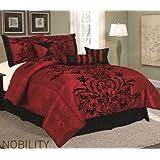 7-pieces Burgundy Red Black Comforter Set Queen Size