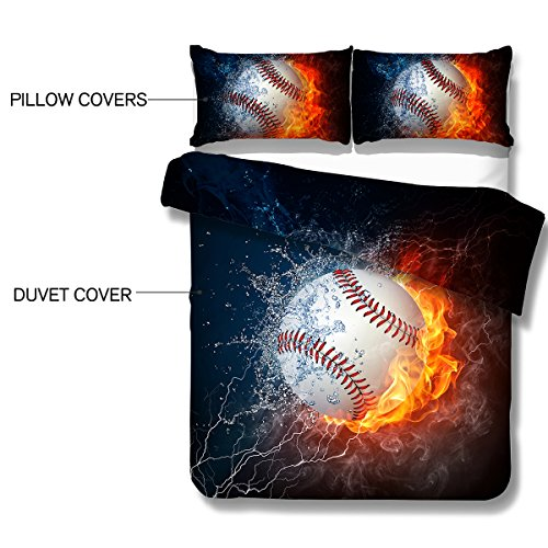Arightex Ice and Fire Baseball Duvet Cover Sets