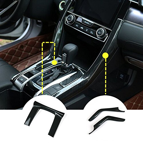 ABS Carbon Fiber Style Gear Box Panel Cover Trim 3pcs For Honda Civic 2016 2017