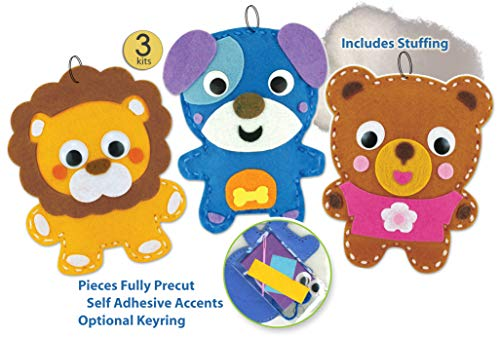 Easy Sewing Kits for Kids Girls Boys Preschool Sewing Kits Projects DIY - Set of 3 Individually Wrapped Animal Sewing Kits with Pre Cut Die Cut Felt Pieces and Pre-Punched - Kit Craft Lacing