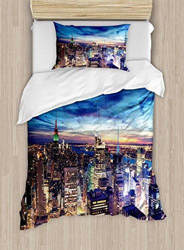 Ambesonne City Duvet Cover Set, Empire State and Skyscrapers of Midtown Manhattan New York Aerial View at Dusk, Decorative 2 Piece Bedding Set with 1 Pillow Sham, Twin Size, Tan Navy Blue Aqua ()