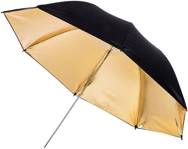 Durable Nylon Lightweight 1x 33 inch Gold Photography /& Video Reflector Umbrella - Fovitec Cast-Iron Collapsible Easy Set-up