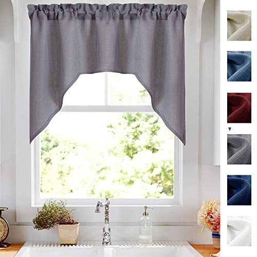 - Swag Valance Semi Sheer Short Curtains Kitchen Casual Weave Cafe Curtains Half Window Treatments 1 Panel 38