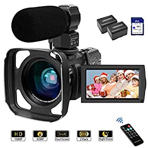 Camcorder Video Camera 1080P 42MP 16X Zoom IPS Touch Screen YouTube Vlogging Camcorder with Stereo Microphone, Wide Lens…