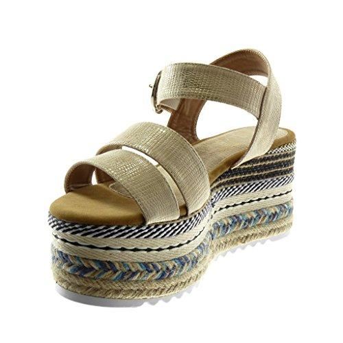 Angkorly Damen Schuhe Sandalen Mule - Knöchelriemen - Plateauschuhe - Folk - Multi-Zaum - Schlangenhaut - Schleife Keilabsatz High Heel 8.5 cm Gold