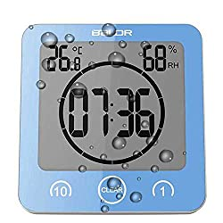 Digital Shower Clock with Timer Temperature Humidity Monitor Function, Waterproof Bathroom Clock for Water Spray, Special Mirror Suction Clock [Touch Screen] [Table Desk Stand or Wall Hanging] (Blue)