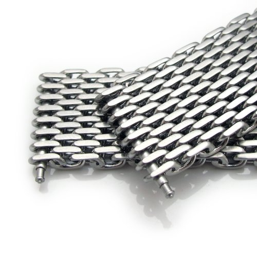 19mm Ploprof 316 Reform Stainless Steel ''SHARK'' Mesh Milanese Watch Band, Brushed, BB by 19mm Mesh Band (Image #4)