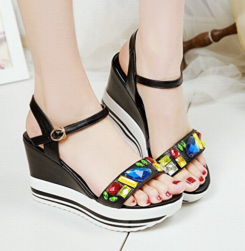 Buckle Womens Open Wedges Date Rhinestones Multicoloured Carolbar Fashion Sandals Toe Platform Dress qIdHw77