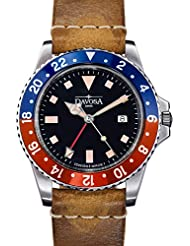 Davosa Professional Men Watch, Quality Swiss Made Quartz 16250095, Dual Time Analog Dial, Luxury Vintage Leather...