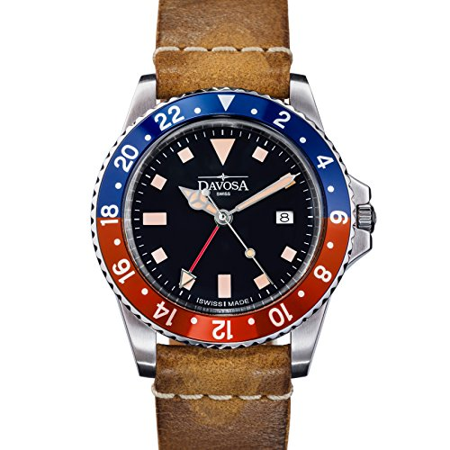 Davosa Swiss Made Quartz Quality Watch - Luxury GMT Dual Time Analog Dial Vintage Fashion Watch with Genuine Leather Wrist Band (16250095)