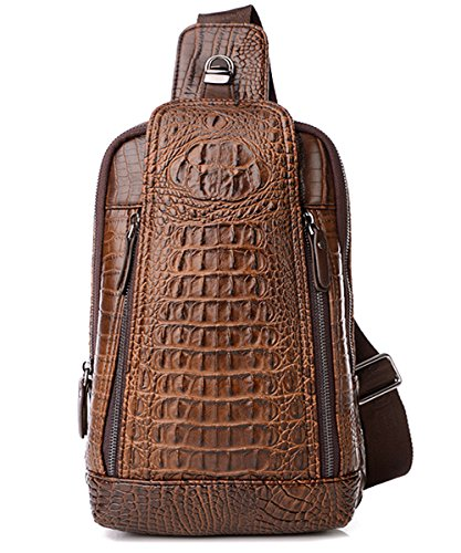 FiveloveTwo Mens Sling Bags Crocodile Leather Multipurpose Outdoor Shoulder Crossbody Chest Bag Satchels Hiking School Daypack Dark Brown