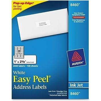 amazon avery 8460 簡単シール郵送用ラベル 1インチ幅x 2 62インチ長