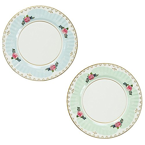 Talking Tables Truly Scrumptious Large Pastel Dinner Paper Plates for a Tea Party, Wedding or Birthday, Blue/Green (2 Pack) by Talking Tables