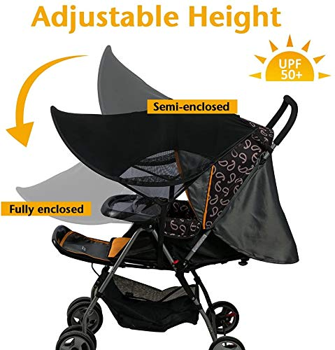 Pushchair Buggy and Carrycot//Stroller Sun Sail with UV Protection 50 Universal Baby Sunshade for Pram and Up and Down Slide Function