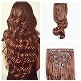 PINKZIO Curly Wavy Clip in Hair Extension, Chestnut Brown, 120 g, 9 Piece