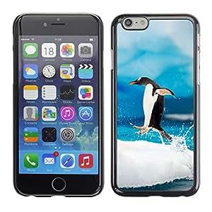 KLONGSHOP // Cubierta de piel con cierre a presión Shell trasero duro de goma Protección Caso - Saltar Pingüino - Apple Iphone 6 Plus 5.5 //