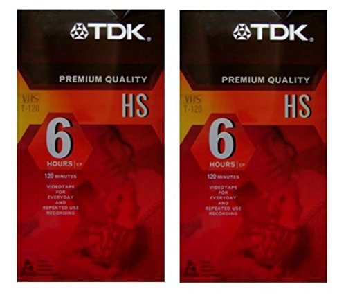 TDK Premium Quality VHS Blank Video Tape, 6 Hours Ep, T-120 for Everyday Video Play or Repeated Use Recording ()