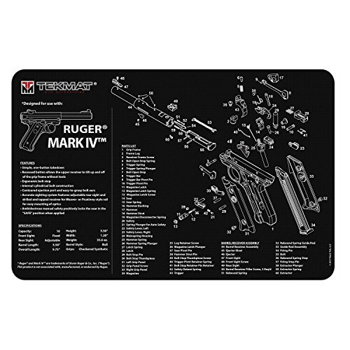 TekMat Ruger Mark IV Cleaning Mat / 11 x 17 Thick, Durable, Waterproof/Handgun Cleaning Mat with Parts Diagram and Instructions/Armorers Bench Mat/Black by BECK