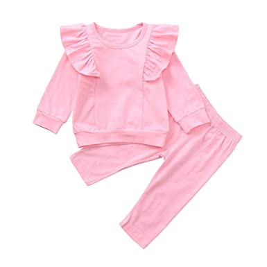 KONFA Toddler Baby Girls Autumn Winter Clothes,Ruffles T-Shirt+Trousers 2Pcs Outfits