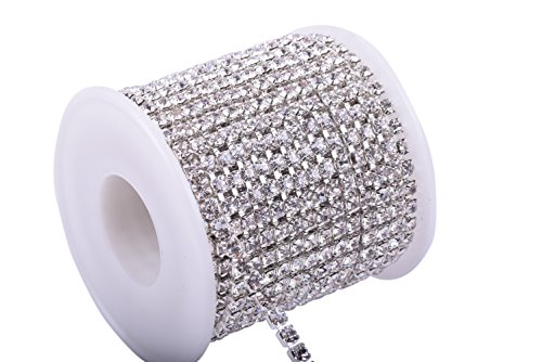 KAOYOO 1 Roll 10 Yards Crystal Rhinestone Close Chain Trim, SS16/4.0mm, Silver Chain with Clear Crystal - Crystal Rhinestone Chain