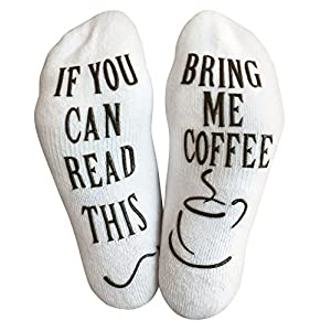 """Luxury Cotton """"Bring Me Coffee"""" Funny Socks - Perfect Valentine's Day Gift for Him or Her, Hilarious Novelty or Gag Gift Idea for Wife or Husband - Best White Elephant Present For Coffee Lover"""