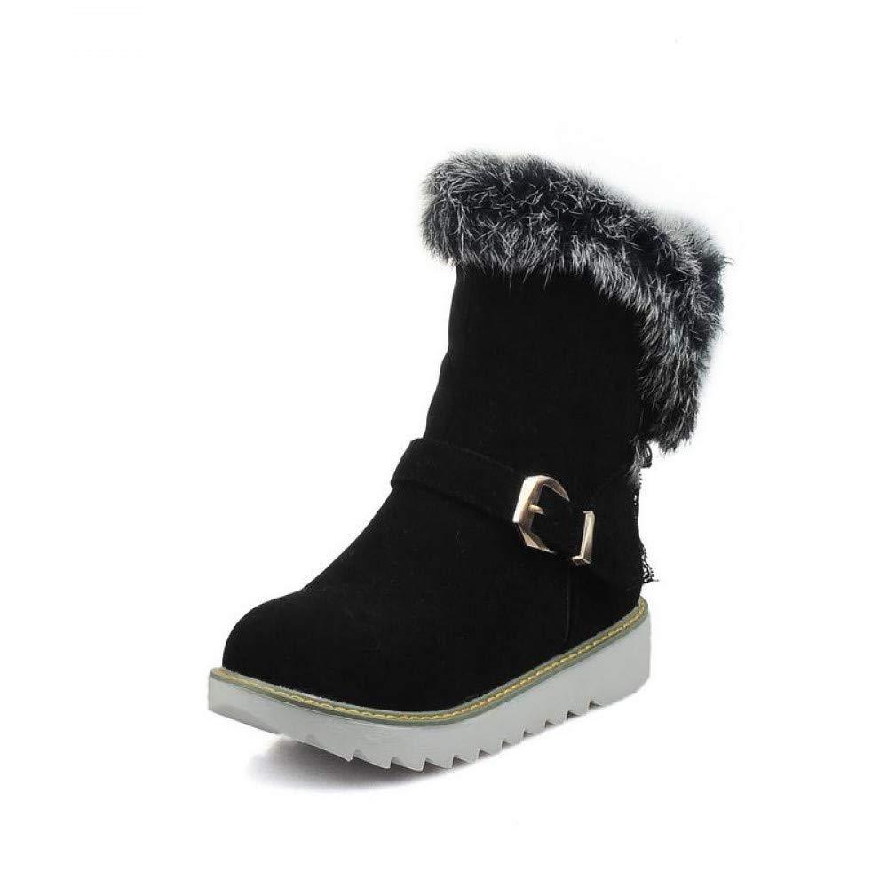 PINGXIANNV Nouvelles Bout d'hiver Arrivent Boots Femme Bout Nouvelles Rond Bottes Neige Bottes Chaudes Garder Boucle Chaussures Femmes Solides 6.5|Black 3c76e9