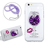 Liquid Case Cover For Iphone 6 6S PLUS Clear Crystal, Girlyard Soft Silicone Wine Glass Pattern Hourglass Case Cover Stars Flowing Glitter Bling Diamond Case Cover with Rose Red Sexy Lips and Purple Lanyard Strap