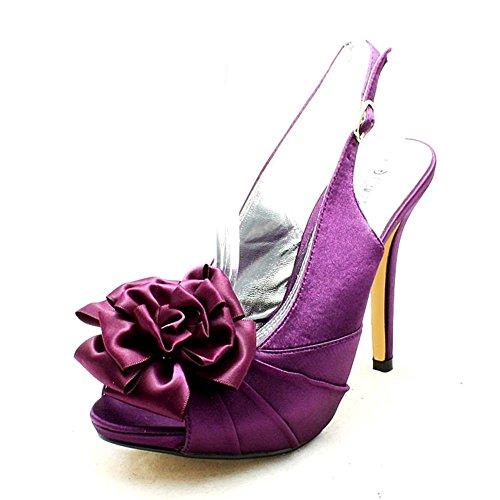 espalda del roseta honda toe honor de dama partido Señoras zapatos morado peep wzdI4Wnzq