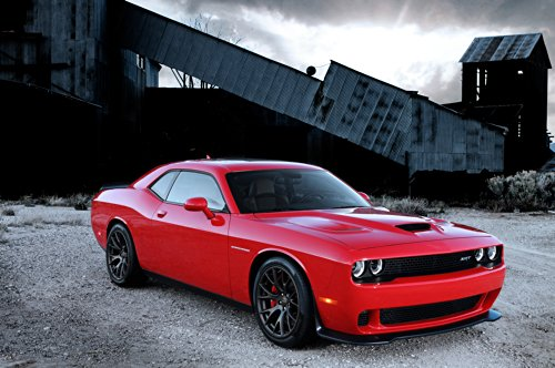 Dodge Challenger SRT Supercharged with HEMI Hellcat Engine (2015) Car Art Poster Print on 10 mil Archival Satin Paper Red Front Side Parked View 36