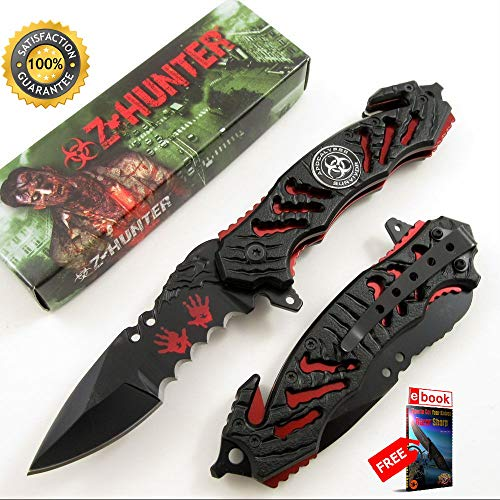 Z-Hunter Black, Red Zombie Apocalypse Survivor SPRING ASSISTED Folding Sharp KNIFE Combat Tactical Knife + eBOOK by Moon Knives ()