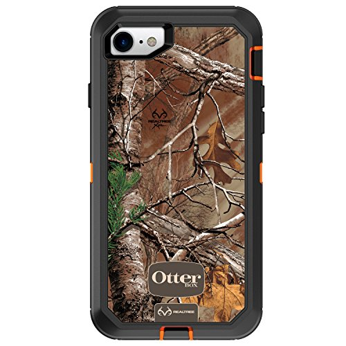 (OtterBox DEFENDER SERIES Case for iPhone 8 & iPhone 7 (NOT Plus) - Retail Packaging - (BLAZE ORANGE/BLACK W/REALTREE XTRA CAMO))