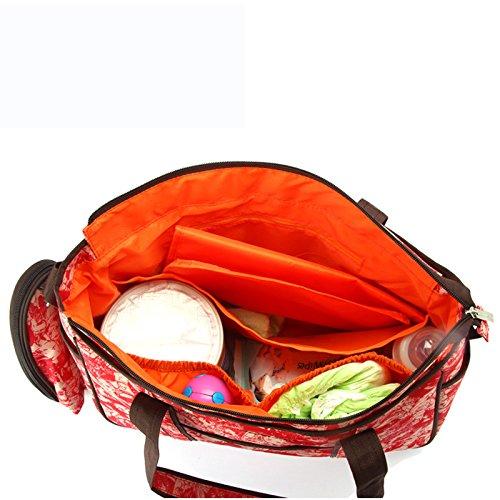 Denshine Mummy Bolso cambiador de pañales para bebé bolsa (forro de PVC impermeable de tela, 39* 13* 29cm/12,6* 5.1* 11.4inch) rosso rosso
