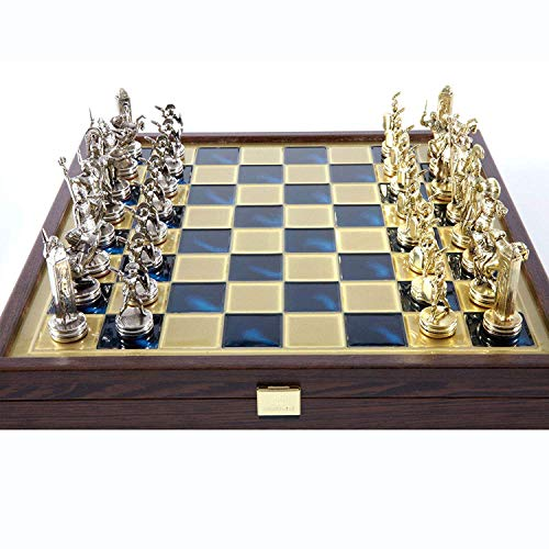 Manopoulos Greek Mythology Chess Set – Brass&Nickel – Wooden Case Blue Board