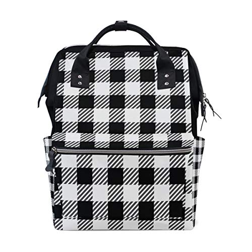Student Travel School Backpack Black and White Gingham Buffalo Plaid Laptop College Bags Shoulder Tote Bag ()